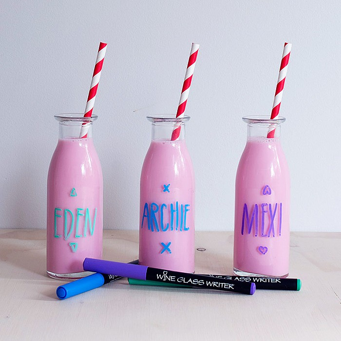 Wine Glass Markers on Glass Jars